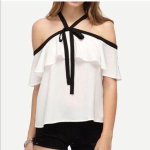 White ruffle halter black white off shoulder top
